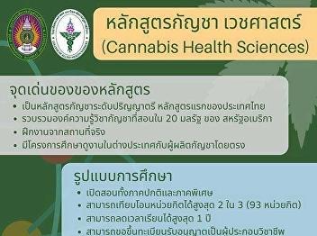 มหาวิทยาลัยราชภัฏสวนสุนันทา เปิดรับสมัครนักศึกษาใหม่ หลักสูตรกัญชา เวชศาสตร์ ระดับปริญญาตรี หลักสูตรแรกของประเทศไทย